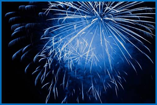 Blue fireworks explosion in the sky