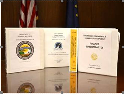 The finance budget subcommittee binders used by Rep. Tuck for the 2020 legislative session.