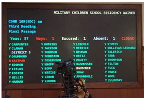 The voting board for House Bill 109, which passed the Alaska House of Representatives by a vote of 37-1.
