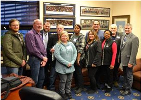 Rep. Tuck with members of the IBEW after a discussion of labor issues in Alaska on Tuesday, January 28, 2020.