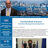 Rep. Josephson's Newsletter: First Real Week of Session