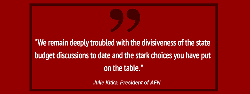 AFN: 'We remain deeply troubled with the divisiveness of the budget'
